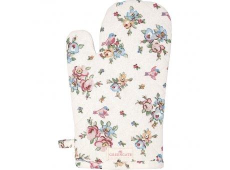 Greengate Ofenhandschuh ELLIE Weiß Blumen Vögeln Greengate BBQ Handschuh Nr COTGRIEIE0104