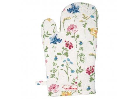 Greengate Ofenhandschuh THILDE Weiss Blumen Baumwolle BBQ Handschuh Greengate Grill Handschuh Nr COTGRITHL0104