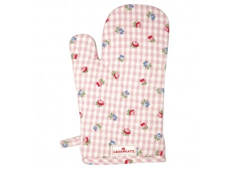 Greengate Ofenhandschuh VIOLA Pale Pink Check Blumen Baumwolle BBQ Handschuh Rosa Karo Greengate Grill Glove Nr COTGRIVCH1904