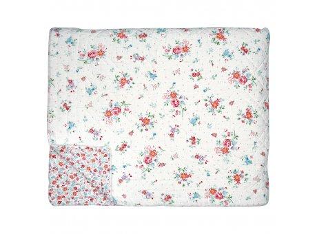 Greengate Quilt BELLE 140x220 Weiss mit Blumen Greengate Decke Nr QUIBED140BLL0102