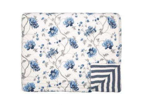 Greengate Quilt CHARLOTTE Weiss Blau Blumen Decke 180x230 cm GG Tagesdecke Nr QUIBED180CHL0102