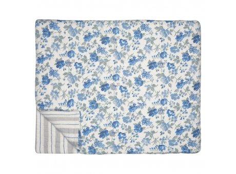 Greengate Quilt DONNA 140x220 Blau Weiss mit Blumen Rückseite Streifen Grau Greengate Decke Nr QUIBED140DON2502