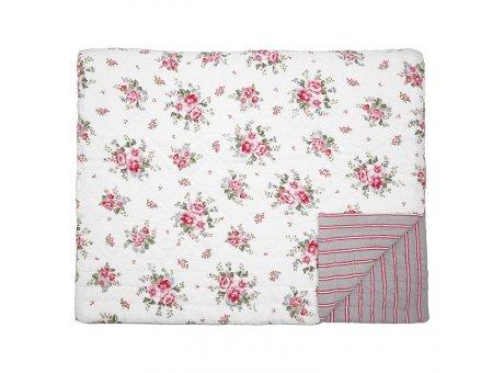 Greengate Quilt ELOUISE Weiss Rot Blumen Decke 250x260 cm GG Tagesdecke Nr QUIBED250ELO0101