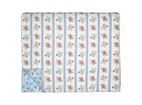 Greengate Quilt EVIE 140x220 Weiss mit Blumen Rückseite Viola Karo Blau Weiß Greengate Decke Nr QUIBED140EVI0102