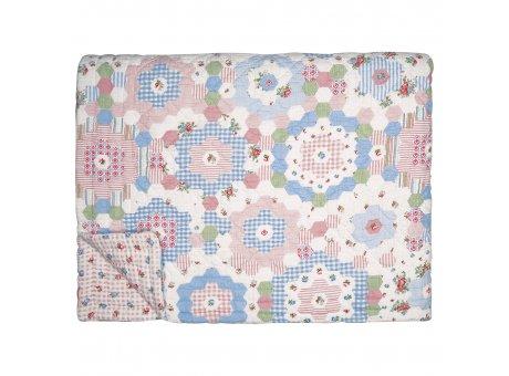Greengate Quilt HENRIETTA 140x220 Weiss mit Blumen Rückseite Viola Karo Rosa Weiß Greengate Decke Nr QUIBED140HET0102
