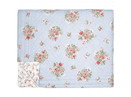 Greengate Quilt PETRICIA 140x220 Pale Blue Blau mit Blumen Rückseite CARLY Weiss Greengate Decke Nr QUIBED140PET2902