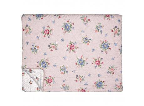 Greengate Quilt ROBERTA Pale Pink 140x220 Rosa mit Blumen Rückseite Weiß Blümchen Greengate Decke Nr QUIBED140ROB1902