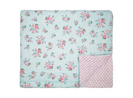 Greengate Quilt SONIA Pale Blue Blau Blumen Decke 140x220 cm GG Tagesdecke Nr QUIBED140SOI2902