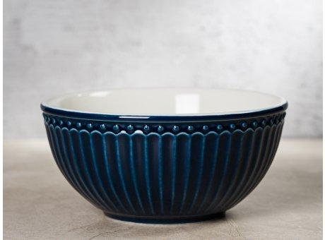 Greengate Schale ALICE Dunkelblau Müslischale Everyday Keramik Geschirr Dark Blue 450ml Rillenmuster Hygge für jeden Tag