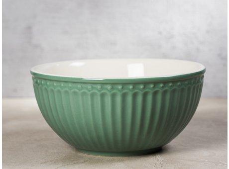 Greengate Schale ALICE Grün Müslischale Everyday Keramik Geschirr Dusty Green 450ml Rillenmuster Hygge für jeden Tag