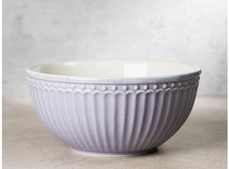 Greengate Schale ALICE Lavendel Lila Müslischale Everyday Keramik Geschirr Lavender 450ml Rillenmuster Hygge für jeden Tag