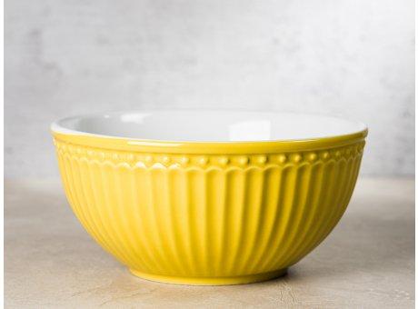 Greengate Schale ALICE Senf Gelb Müslischale Everyday Keramik Geschirr Honey Mustard 450ml Rillenmuster Hygge für jeden Tag