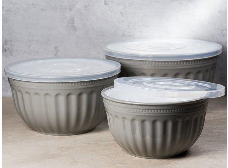 Greengate Schalenset ALICE Grau 3er Set Schalen Everyday Geschirr aus Kunststoff Schüsseln mit Deckel Grey 2000 ml bis 4500 ml Hygge für jeden Tag