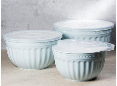 Greengate Schalenset ALICE Hellblau 3er Set Schalen Everyday Geschirr aus Kunststoff Schüsseln mit Deckel Pale Blue 2000 ml bis 4500 ml Hygge für jeden Tag
