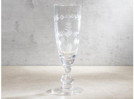 Greengate Sektglas mit Muster geschliffen Champagner Glas Klar modernen Chic und Nostalgie Design