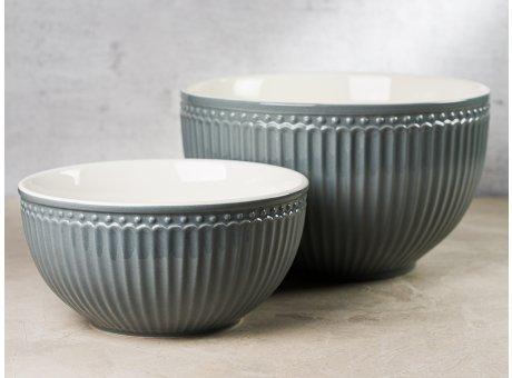 Greengate Servier Schalen Set ALICE Grau Everyday Geschirr aus Keramik Stone Grey 2er Set 1000 ml und 2400 ml Hygge für jeden Tag