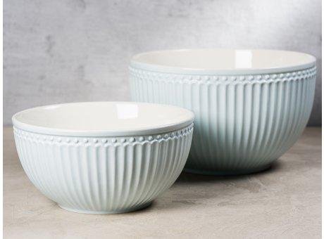Greengate Servier Schalen Set ALICE Hellblau Everyday Geschirr aus Keramik Pale Blue 2er Set 1000 ml und 2400 ml Hygge für jeden Tag
