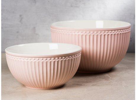 Greengate Servier Schalen Set ALICE Rosa Everyday Geschirr aus Keramik Pale Pink 2er Set 1000 ml und 2400 ml Hygge für jeden Tag