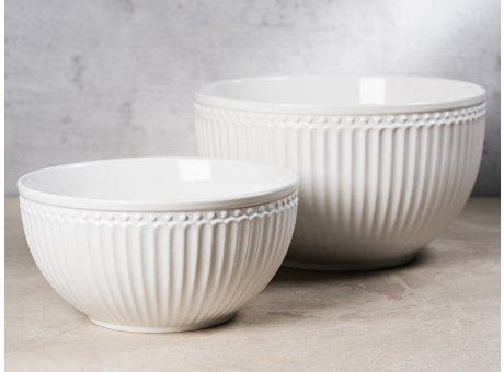 Greengate Servier Schalen Set ALICE Weiss Everyday Geschirr aus Keramik White 2er Set 1000 ml und 2400 ml Hygge für jeden Tag