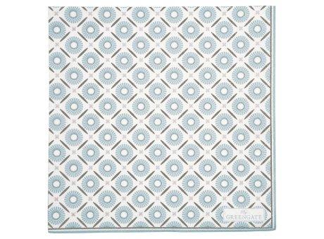 Greengate Servietten ALVA Weiss Blau Groß Serviette aus Papier 20Stck 33x33 cm Greengate Produkt Nummer PAPNAPLALV0112