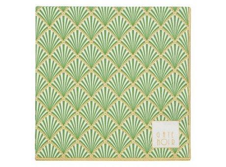 Greengate Servietten Fan grün mit Fächer Design Gate Noir mit Goldrand aus Papier 16,5x16,5 cm