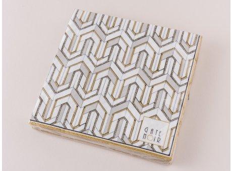 Greengate Servietten Madie gold weiß schwarz Gate Noir Papierservietten