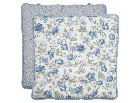 Greengate Sitzkissen Donna 40x40 Blau Weiss mit Blumen Greengate Stuhlkissen Nr COTSEALDON2504