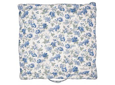 Greengate Sitzkissen DONNA Box Cushion 50x50 Blau Weiss mit Blumen Greengate Sitzpolster Nr COTBOXCUSDON2504
