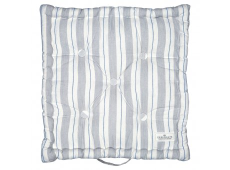 Greengate Sitzkissen ELINOR Pale Grey Box Cushion 50x50 Grau Weiss Streifen Greengate Sitzpolster Nr COTBOXCUSELI8504
