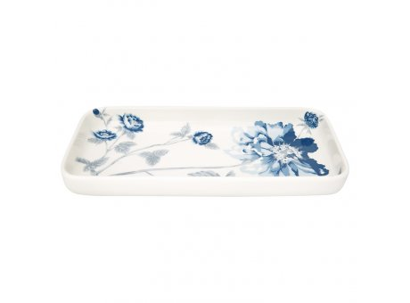 Greengate Tablett Teller CHARLOTTE Weiss Blau mit Blumen 12x24 cm GG Produkt Nr STWTRASCHL0104