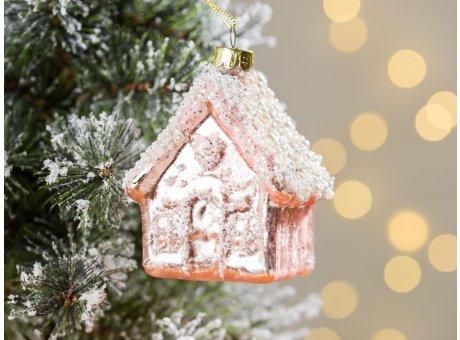 Greengate Tannenbaumhänger Haus Glitzer Pale Pink Rosa ca 8 cm hoch Weihnachtsdeko Baumschmuck für den schönsten Weihnachtsbaum