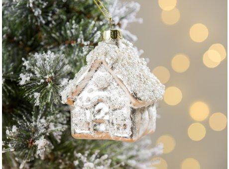 Greengate Tannenbaumhänger Haus Glitzer Weiss ca 8 cm hoch Weihnachtsdeko Baumschmuck für den schönsten Weihnachtsbaum