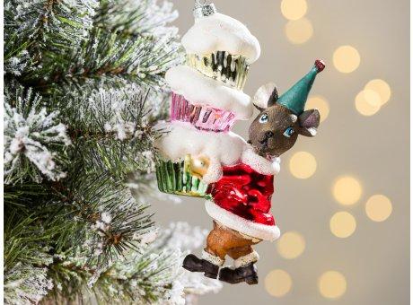 Greengate Tannenbaumhänger Maus mit Cup Cakes Kuchen ca 15 cm hoch Weihnachtsdeko Baumschmuck für den schönsten Weihnachtsbaum