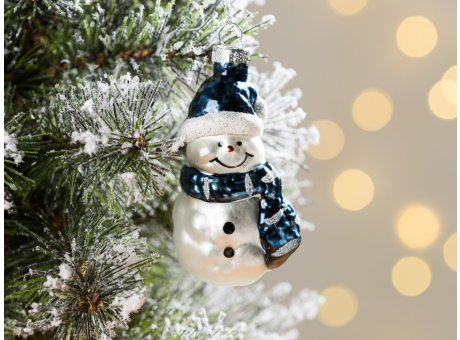 Greengate Tannenbaumhänger Schneemann Blau ca 8 cm hoch Weihnachtsdeko Baumschmuck für den schönsten Weihnachtsbaum