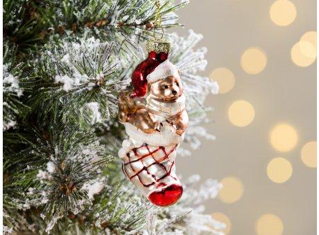 Greengate Tannenbaumhänger Strumpf mit Bär Rot ca 7,5 cm hoch Weihnachtsdeko Baumschmuck für den schönsten Weihnachtsbaum