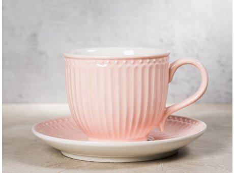 Greengate Tasse ALICE Rosa mit Untertasse Kaffeetasse Everyday Keramik Geschirr Pale Pink Rillenmuster Hygge fuer jeden Tag