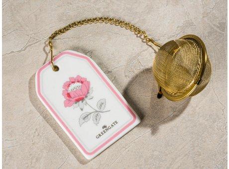 Greengate Tee Ei SIENNA Weiss mit Kette und Teesieb aus Metall Gold Anhänger aus Keramik mit Blume