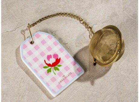 Greengate Tee Ei VIOLA Pale Pink Check Rosa mit Kette und Teesieb aus Metall Gold Anhänger aus Keramik mit Blume und Karo Muster
