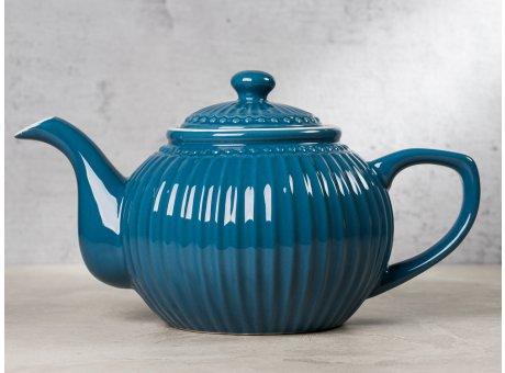 Greengate Teekanne ALICE Blau dunkelblau Kanne Everyday Keramik Geschirr Ocean Blue 1 Liter Rillenmuster Hygge für jeden Tag