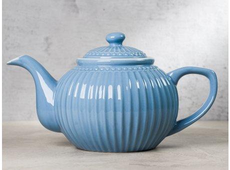 Greengate Teekanne ALICE Blau Kanne Everyday Keramik Geschirr Sky Blue 1 Liter Rillenmuster Hygge für jeden Tag