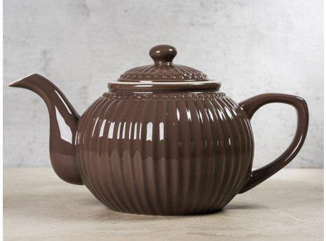 Greengate Teekanne ALICE Braun dunkelbraun Kanne Everyday Keramik Geschirr Dark Chocolate 1 Liter Rillenmuster Hygge für jeden Tag
