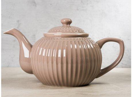 Greengate Teekanne ALICE Braun hellbraun Kanne Everyday Keramik Geschirr Hazelnut Brown 1 Liter Rillenmuster Hygge für jeden Tag