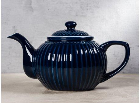 Greengate Teekanne ALICE Dunkelblau Kanne Everyday Keramik Geschirr Dark Blue 1 Liter Rillenmuster Hygge für jeden Tag