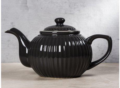 Greengate Teekanne ALICE Dunkelgrau Kanne Everyday Keramik Geschirr Dark Grey 1 Liter Rillenmuster Hygge für jeden Tag