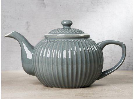 Greengate Teekanne ALICE Grau Kanne Everyday Keramik Geschirr Stone Grey 1 Liter Rillenmuster Hygge für jeden Tag