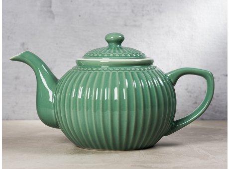 Greengate Teekanne ALICE Grün Kanne Everyday Keramik Geschirr Dusty Green 1 Liter Rillenmuster Hygge für jeden Tag