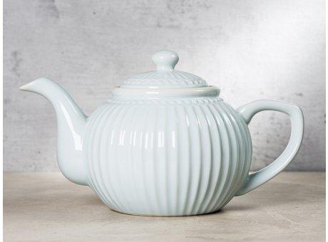 Greengate Teekanne ALICE Hellblau Kanne Everyday Keramik Geschirr Pale Blue 1 Liter Rillenmuster Hygge für jeden Tag