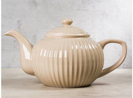 Greengate Teekanne ALICE Karamel Beige Kanne Everyday Keramik Geschirr Creamy Fudge 1 Liter Rillenmuster Hygge für jeden Tag