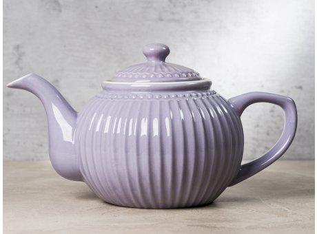 Greengate Teekanne ALICE Lavendel Lila Kanne Everyday Keramik Geschirr Lavender 1 Liter Rillenmuster Hygge für jeden Tag