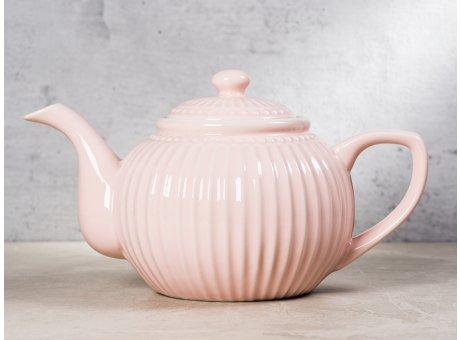 Greengate Teekanne ALICE Rosa Kanne Everyday Keramik Geschirr Pale Pink 1 Liter Rillenmuster Hygge fuer jeden Tag
